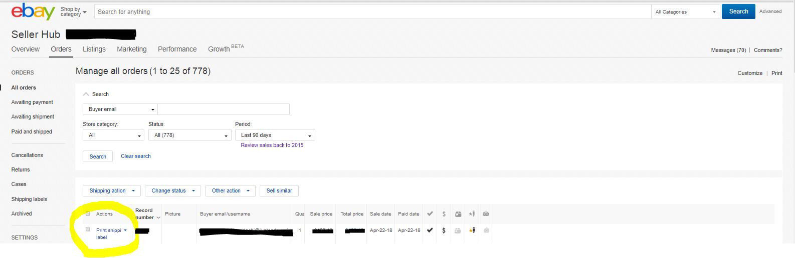 ebayから直接発送ラベルを発行する方法
