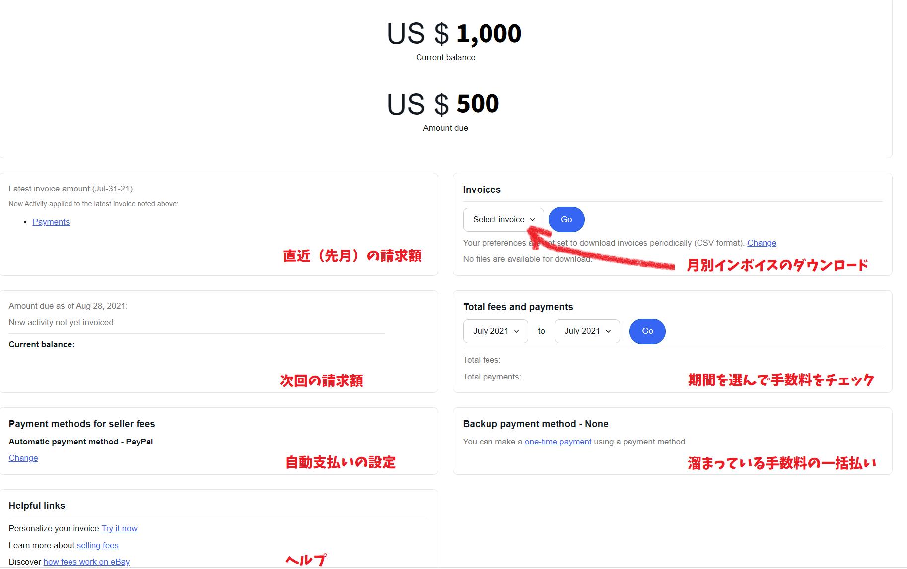 『2021年8月最新版』ebayのインボイスや細かな手数料の見方